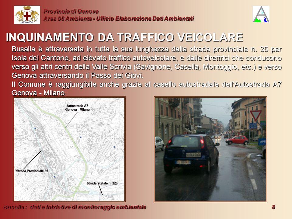 Busalla : dati e iniziative di monitoraggio ambientale 8 Provincia di Genova Area 08 Ambiente - Ufficio Elaborazione Dati Ambientali INQUINAMENTO DA T