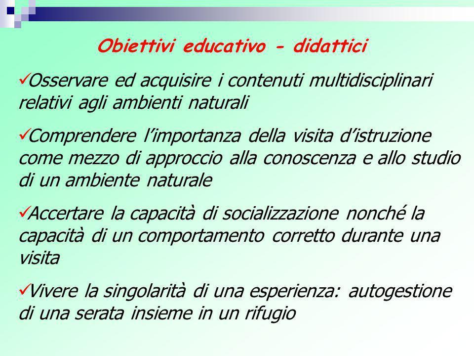 Obiettivi educativo - didattici Osservare ed acquisire i contenuti multidisciplinari relativi agli ambienti naturali Comprendere limportanza della vis
