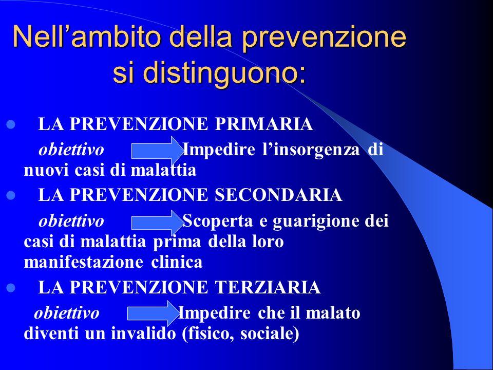 Nellambito della prevenzione si distinguono: LA PREVENZIONE PRIMARIA obiettivo Impedire linsorgenza di nuovi casi di malattia LA PREVENZIONE SECONDARI