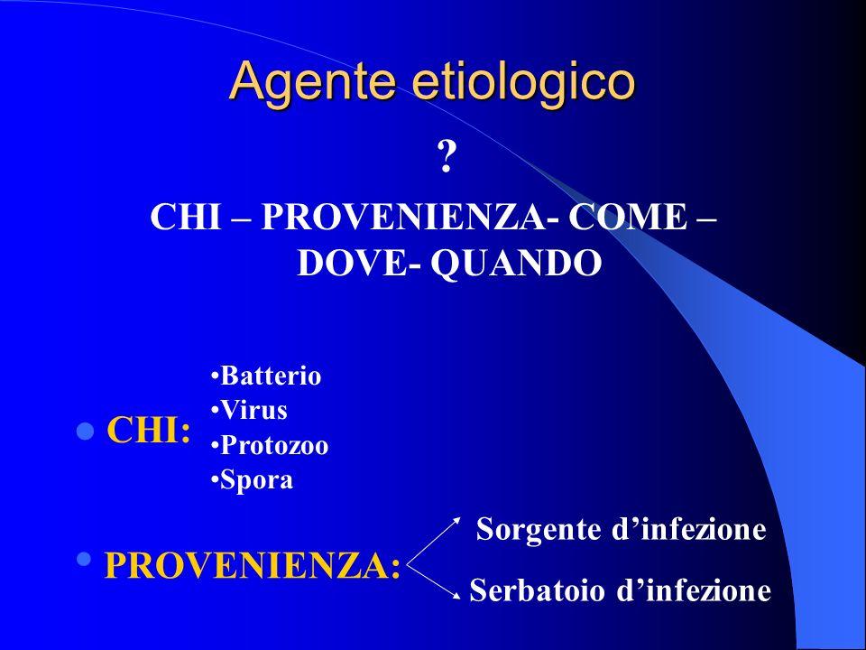 Agente etiologico CHI – PROVENIENZA- COME – DOVE- QUANDO CHI: ? Batterio Virus Protozoo Spora PROVENIENZA: Sorgente dinfezione Serbatoio dinfezione
