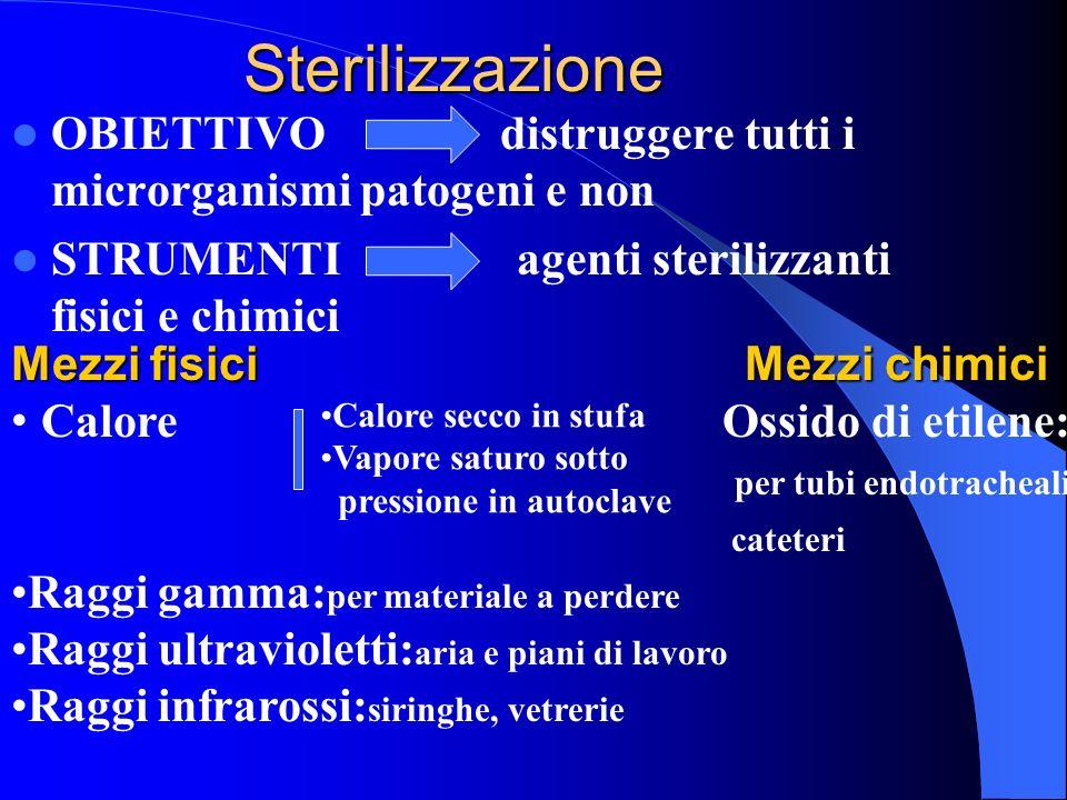 Sterilizzazione OBIETTIVO distruggere tutti i microrganismi patogeni e non STRUMENTI agenti sterilizzanti fisici e chimici Mezzi fisici Mezzi chimici