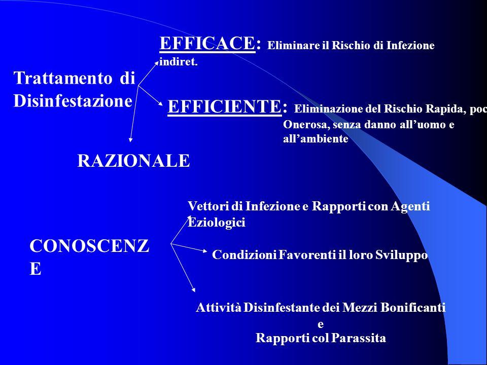 Trattamento di Disinfestazione EFFICACE: Eliminare il Rischio di Infezione indiret. EFFICIENTE: Eliminazione del Rischio Rapida, poco Onerosa, senza d