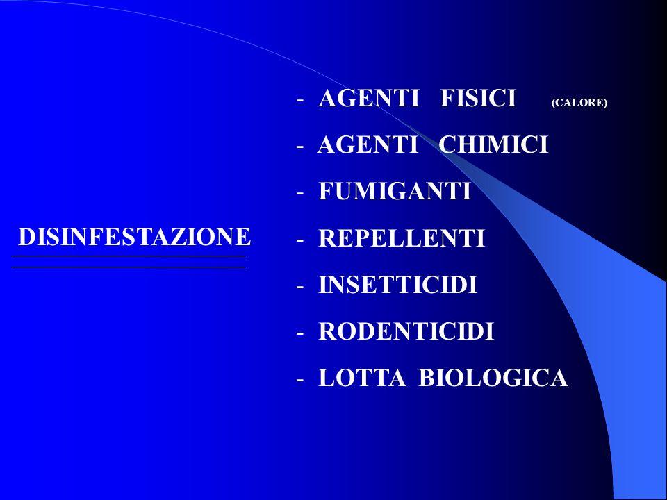 - AGENTI FISICI (CALORE) - AGENTI CHIMICI - FUMIGANTI - REPELLENTI - INSETTICIDI - RODENTICIDI - LOTTA BIOLOGICA DISINFESTAZIONE