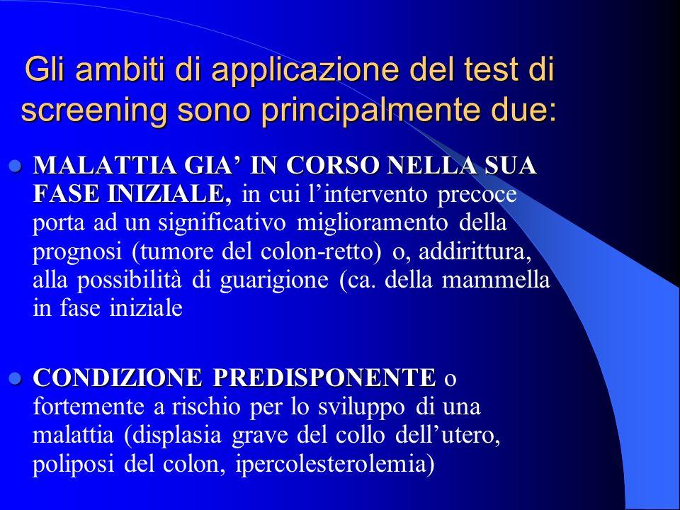 Gli ambiti di applicazione del test di screening sono principalmente due: MALATTIA GIA IN CORSO NELLA SUA FASE INIZIALE MALATTIA GIA IN CORSO NELLA SU