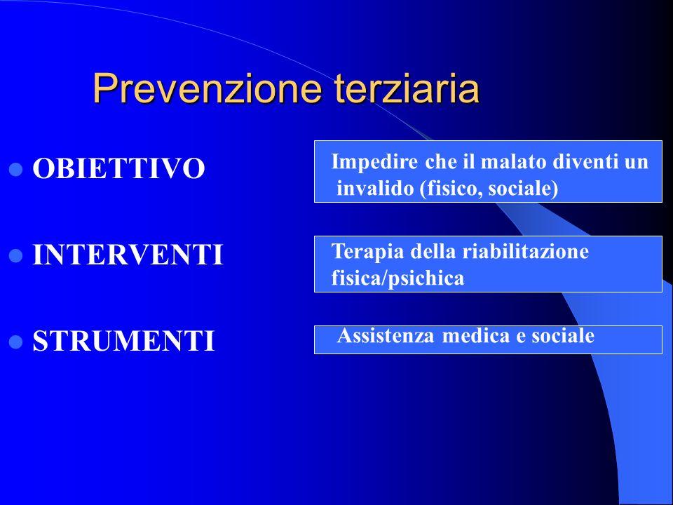 Prevenzione terziaria OBIETTIVO INTERVENTI STRUMENTI Impedire che il malato diventi un invalido (fisico, sociale) Terapia della riabilitazione fisica/