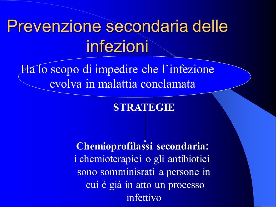 Prevenzione secondaria delle infezioni Ha lo scopo di impedire che linfezione evolva in malattia conclamata STRATEGIE Chemioprofilassi secondaria :. i