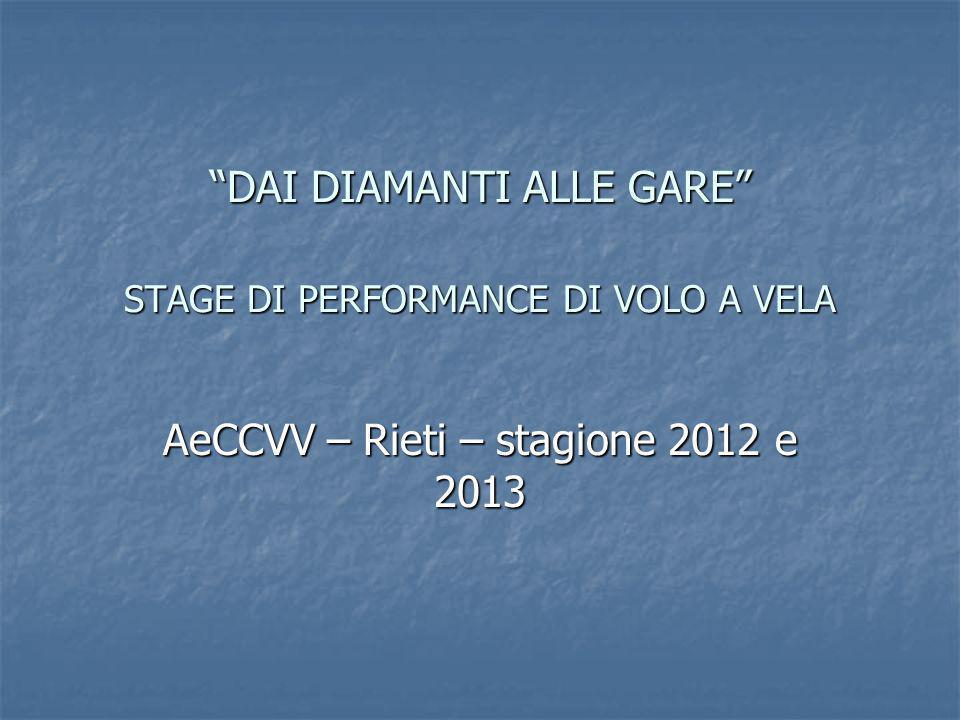DAI DIAMANTI ALLE GARE STAGE DI PERFORMANCE DI VOLO A VELA AeCCVV – Rieti – stagione 2012 e 2013