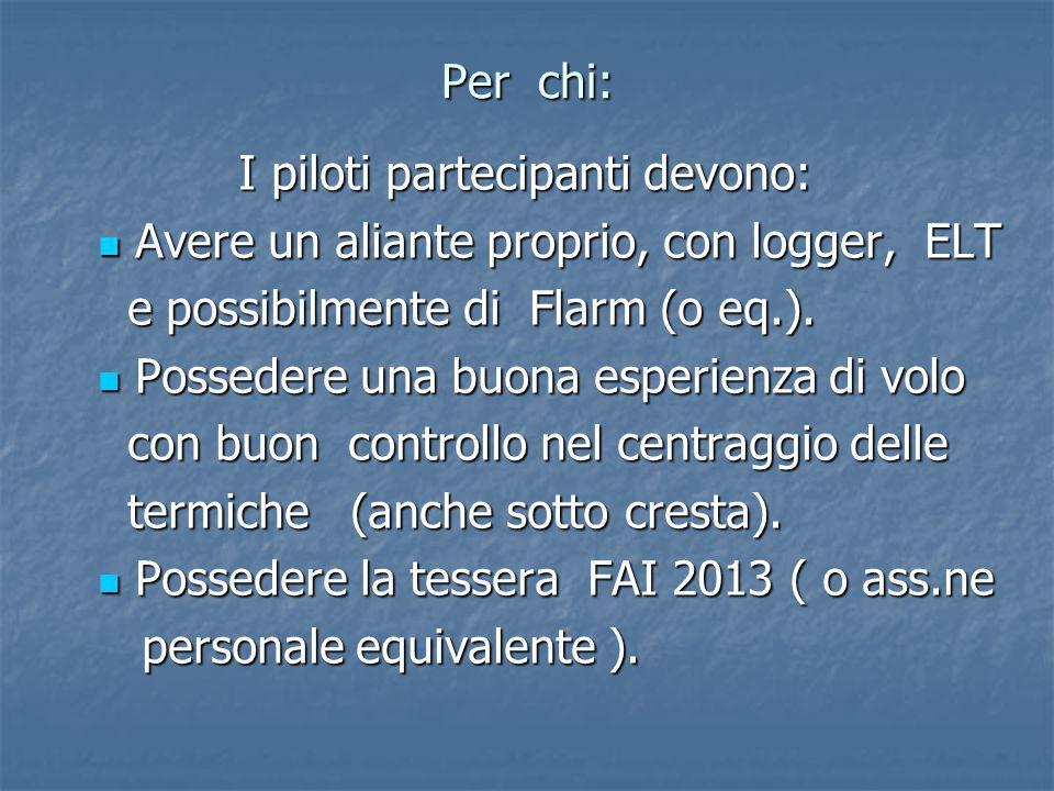 Per chi: I piloti partecipanti devono: I piloti partecipanti devono: Avere un aliante proprio, con logger, ELT Avere un aliante proprio, con logger, ELT e possibilmente di Flarm (o eq.).