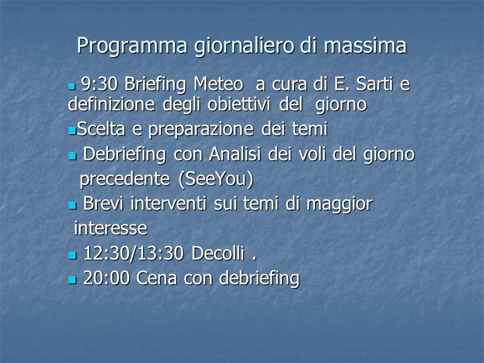 Programma giornaliero di massima 9:30 Briefing Meteo a cura di E.