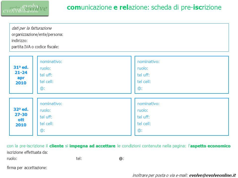 comunicazione e relazione: scheda di pre-iscrizione dati per la fatturazione organizzazione/ente/persona: indirizzo: partita IVA o codice fiscale: ino