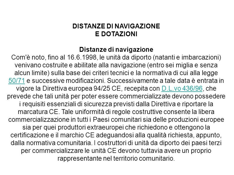 DISTANZE DI NAVIGAZIONE E DOTAZIONI Distanze di navigazione Com'è noto, fino al 16.6.1998, le unità da diporto (natanti e imbarcazioni) venivano costr
