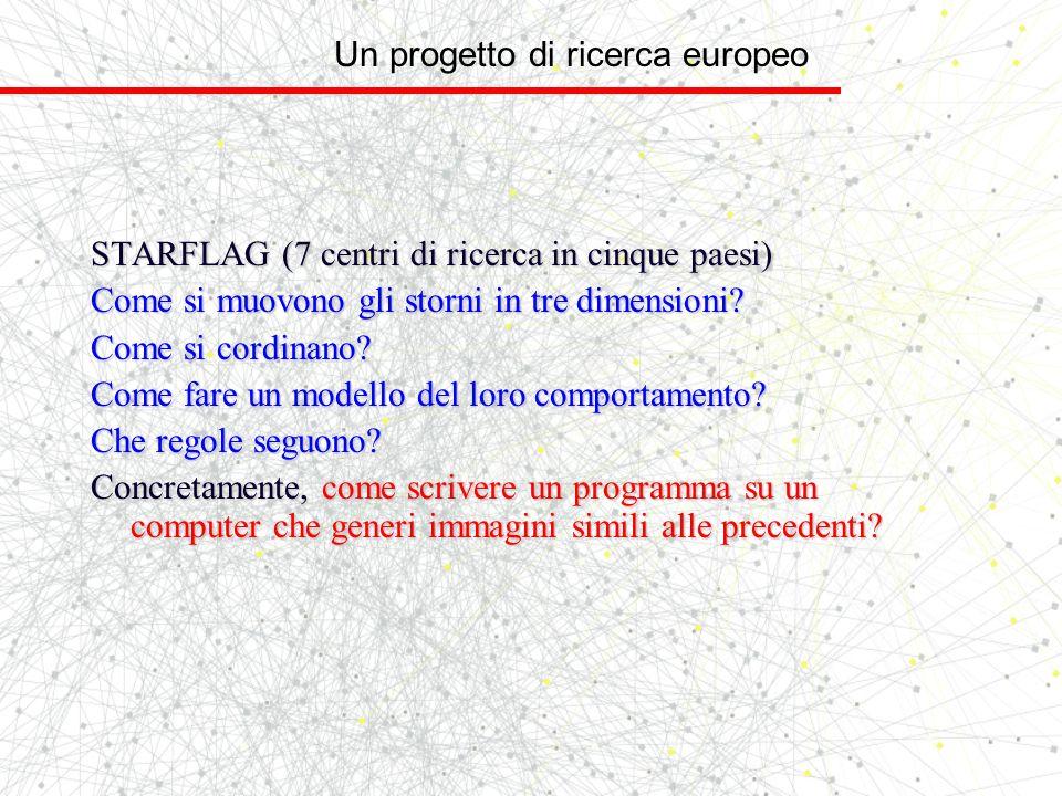 Un progetto di ricerca europeo STARFLAG (7 centri di ricerca in cinque paesi) Come si muovono gli storni in tre dimensioni? Come si cordinano? Come fa