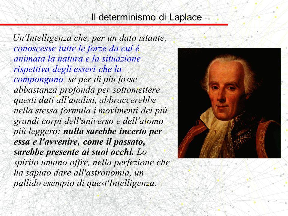 Il determinismo di Laplace Un'Intelligenza che, per un dato istante, conoscesse tutte le forze da cui è animata la natura e la situazione rispettiva d