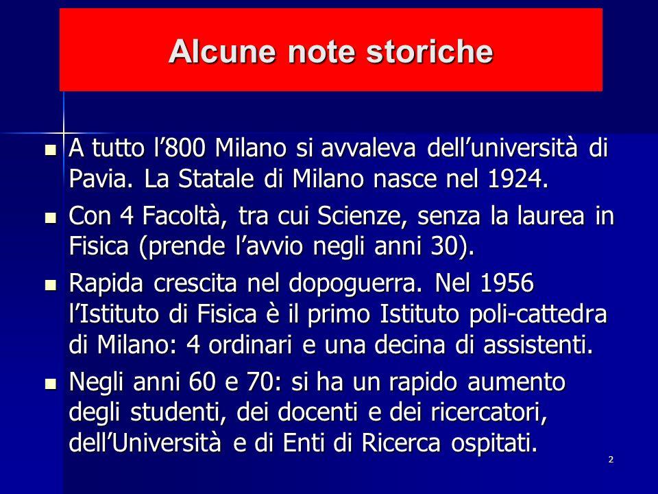 2 Alcune note storiche A tutto l800 Milano si avvaleva delluniversità di Pavia. La Statale di Milano nasce nel 1924. A tutto l800 Milano si avvaleva d