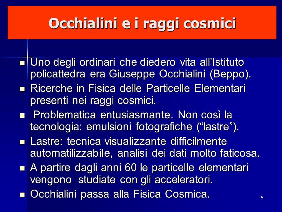 4 Occhialini e i raggi cosmici Uno degli ordinari che diedero vita allIstituto policattedra era Giuseppe Occhialini (Beppo). Uno degli ordinari che di