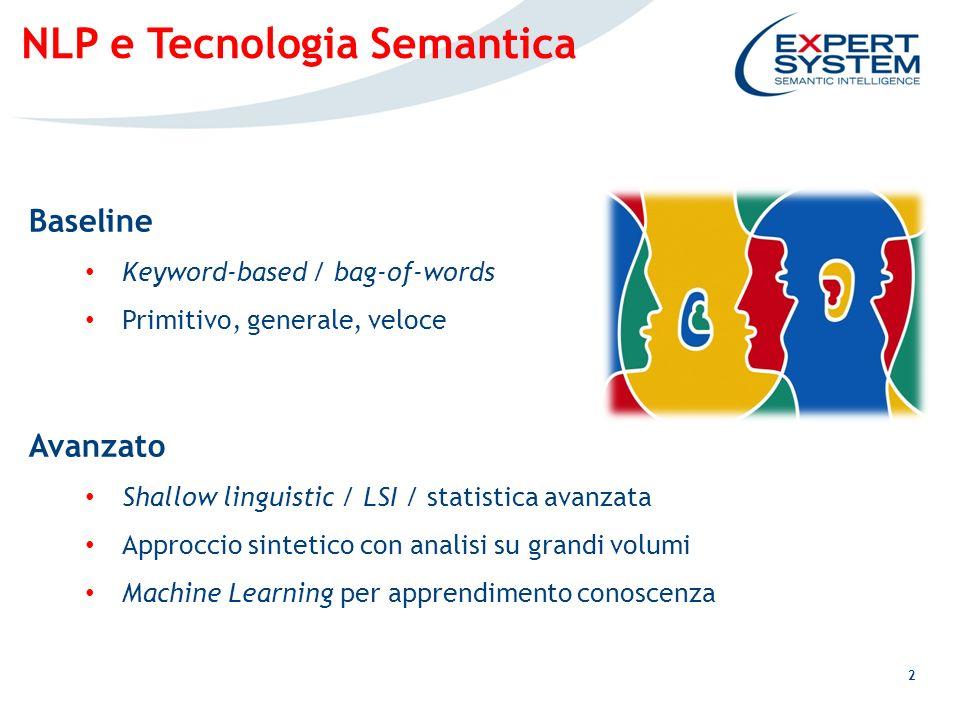 3 NLP e Tecnologia Semantica Perché la tecnologia semantica per NLP.
