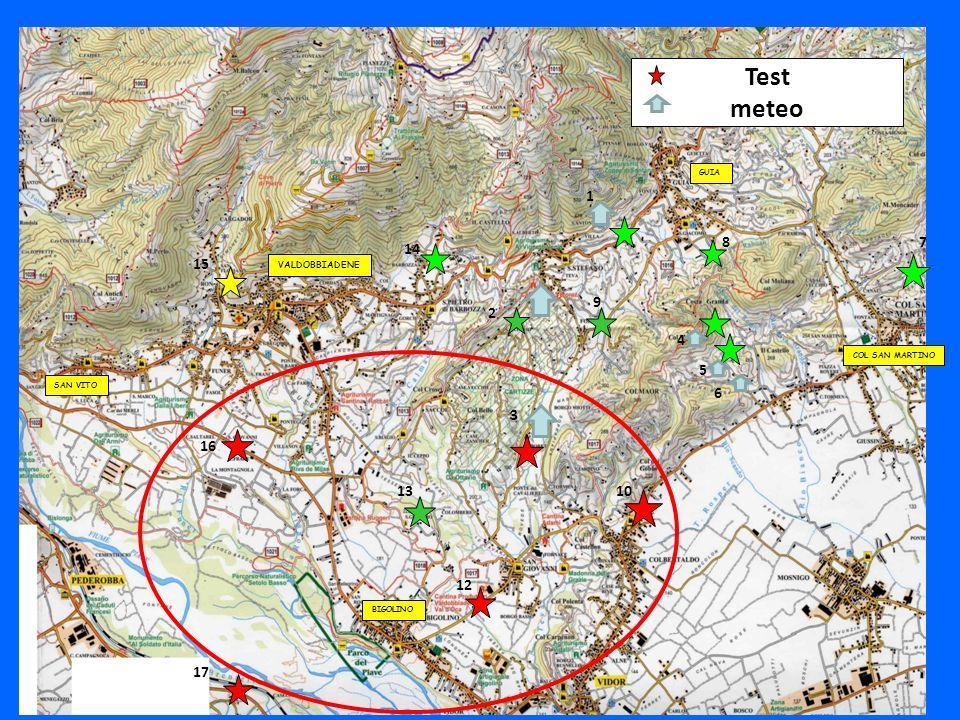 GUIA COL SAN MARTINO BIGOLINO SAN VITO Test meteo 1 2 3 4 5 6 78 9 10 12 13 14 15 16 17 VALDOBBIADENE