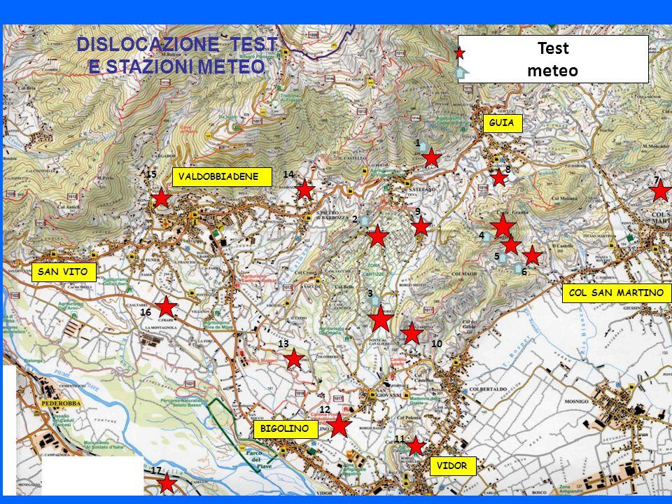 VALDOBBIADENE GUIA VIDOR COL SAN MARTINO BIGOLINO SAN VITO Test meteo 1 2 3 4 5 6 7 8 9 10 11 12 13 1415 16 17 DISLOCAZIONE TEST E STAZIONI METEO