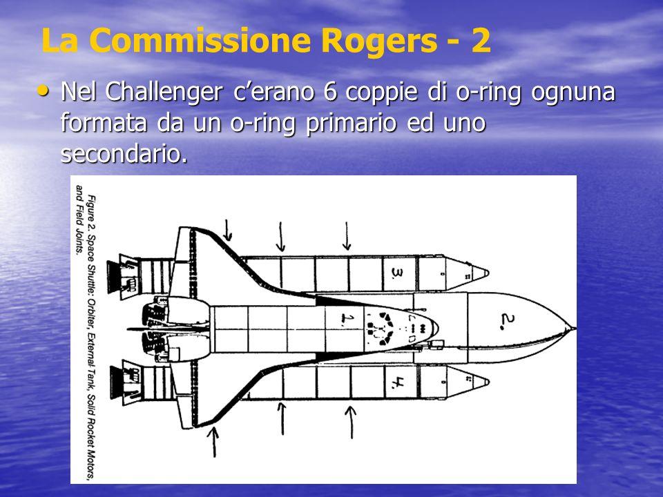 La Commissione Rogers - 2 Nel Challenger cerano 6 coppie di o-ring ognuna formata da un o-ring primario ed uno secondario. Nel Challenger cerano 6 cop