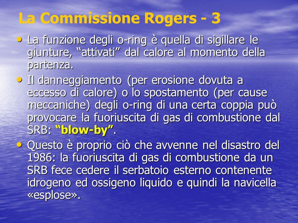 La Commissione Rogers - 3 La funzione degli o-ring è quella di sigillare le giunture, attivati dal calore al momento della partenza. La funzione degli