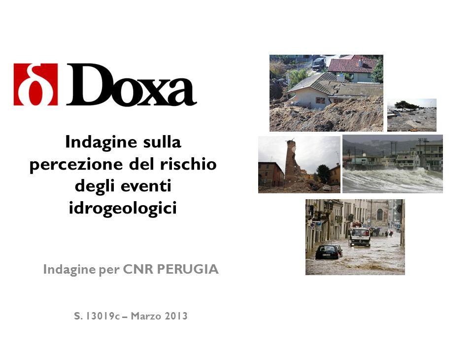 © DOXA - Strictly confidential - All rights reserved Premessa Doxa ha realizzato nel febbraio 2012, per conto del CNR IRPI di Perugia che studia limpatto sociale dei dissesti idro-geologici sul territorio nazionale, un sondaggio di opinione per misurare la percezione dei rischi idro-geologici presso la popolazione italiana.