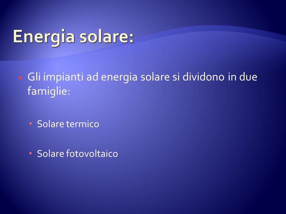 Gli impianti ad energia solare si dividono in due famiglie: Solare termico Solare fotovoltaico