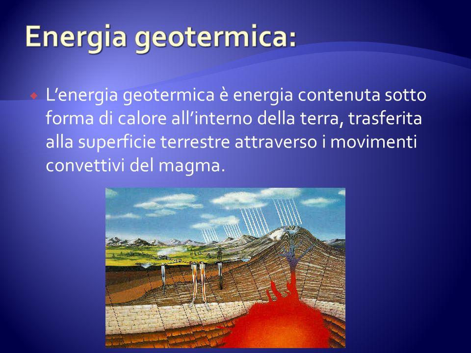 Lenergia geotermica è energia contenuta sotto forma di calore allinterno della terra, trasferita alla superficie terrestre attraverso i movimenti convettivi del magma.
