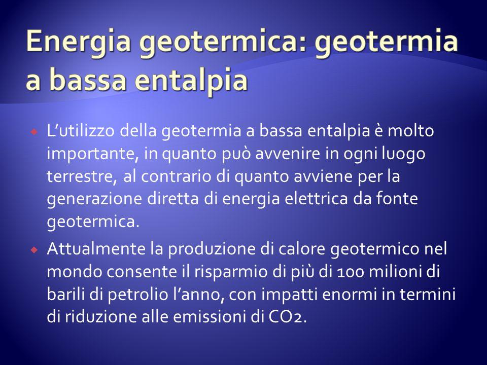 Lutilizzo della geotermia a bassa entalpia è molto importante, in quanto può avvenire in ogni luogo terrestre, al contrario di quanto avviene per la generazione diretta di energia elettrica da fonte geotermica.