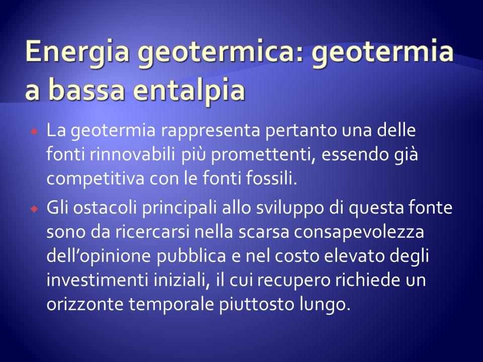 La geotermia rappresenta pertanto una delle fonti rinnovabili più promettenti, essendo già competitiva con le fonti fossili.