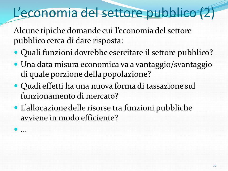 Leconomia del settore pubblico (2) Alcune tipiche domande cui leconomia del settore pubblico cerca di dare risposta: Quali funzioni dovrebbe esercitar