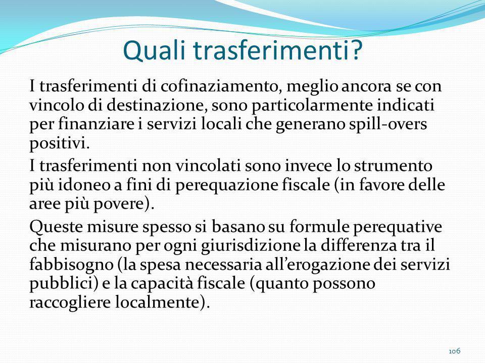 Quali trasferimenti? I trasferimenti di cofinaziamento, meglio ancora se con vincolo di destinazione, sono particolarmente indicati per finanziare i s