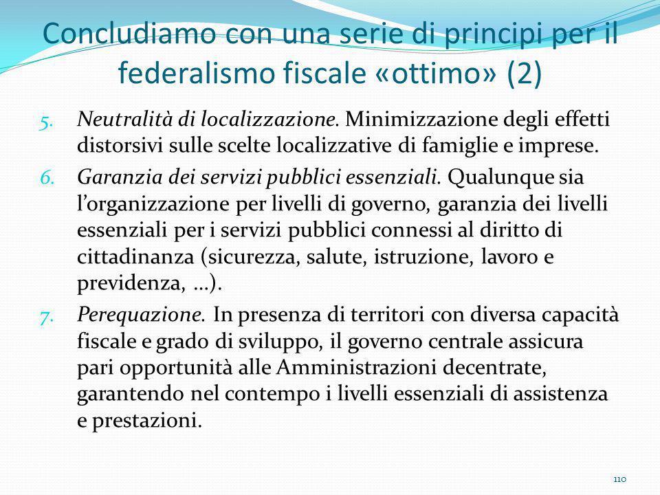 Concludiamo con una serie di principi per il federalismo fiscale «ottimo» (2) 5. Neutralità di localizzazione. Minimizzazione degli effetti distorsivi