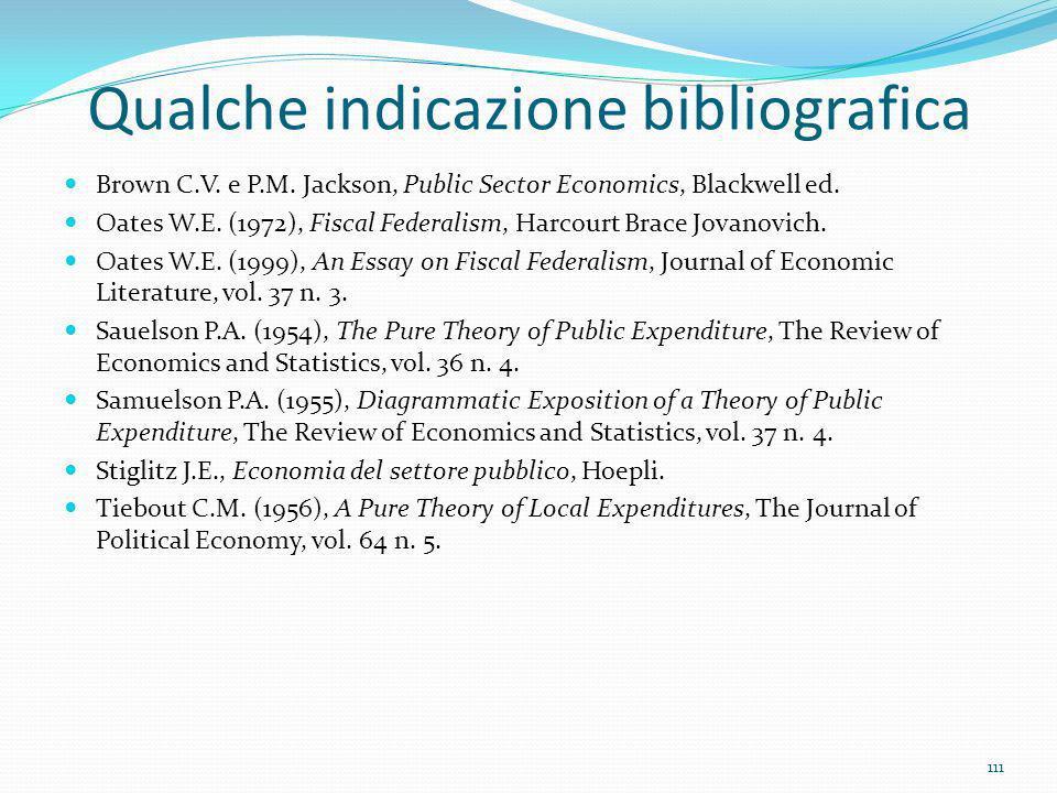 Qualche indicazione bibliografica Brown C.V. e P.M. Jackson, Public Sector Economics, Blackwell ed. Oates W.E. (1972), Fiscal Federalism, Harcourt Bra