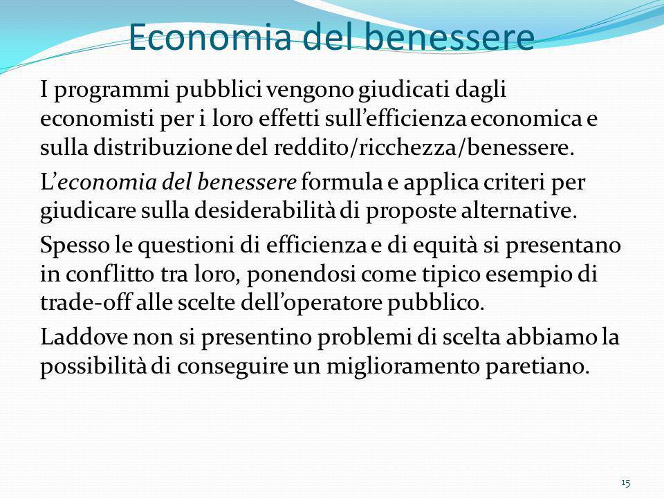 Economia del benessere I programmi pubblici vengono giudicati dagli economisti per i loro effetti sullefficienza economica e sulla distribuzione del r