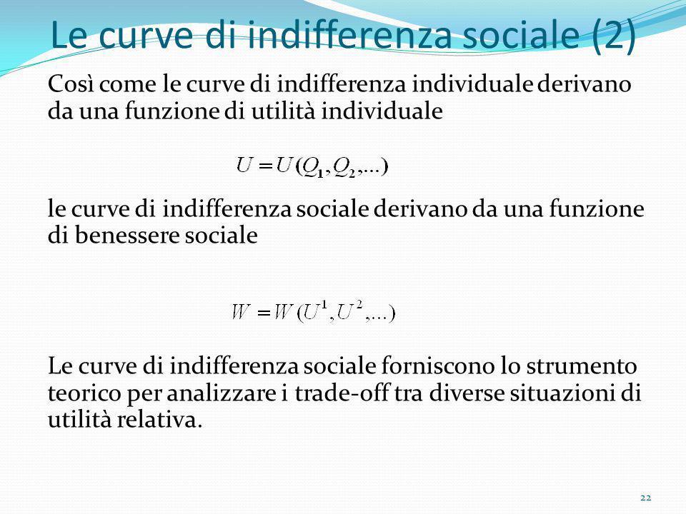 Le curve di indifferenza sociale (2) Così come le curve di indifferenza individuale derivano da una funzione di utilità individuale le curve di indiff