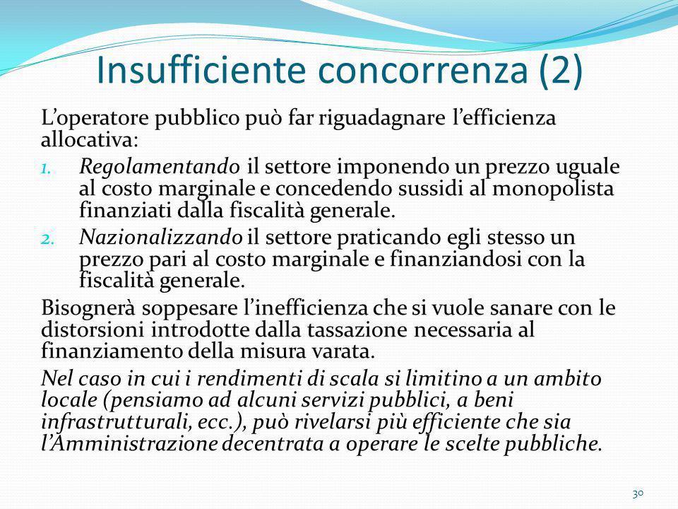 Insufficiente concorrenza (2) Loperatore pubblico può far riguadagnare lefficienza allocativa: 1. Regolamentando il settore imponendo un prezzo uguale