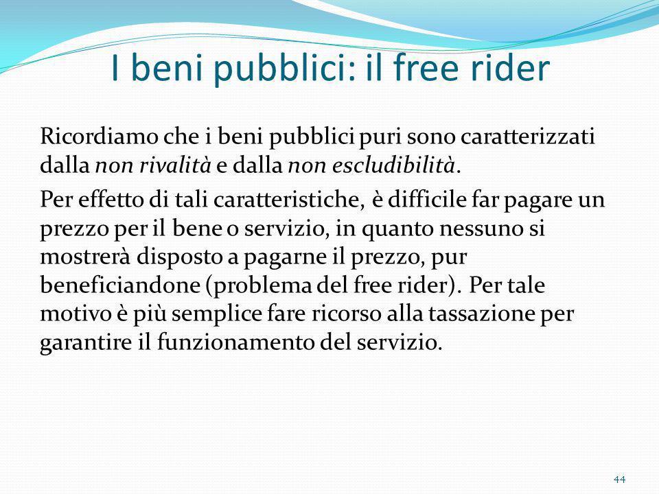 I beni pubblici: il free rider Ricordiamo che i beni pubblici puri sono caratterizzati dalla non rivalità e dalla non escludibilità. Per effetto di ta