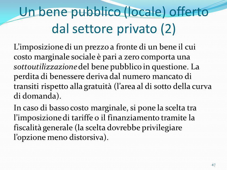 Un bene pubblico (locale) offerto dal settore privato (2) Limposizione di un prezzo a fronte di un bene il cui costo marginale sociale è pari a zero c