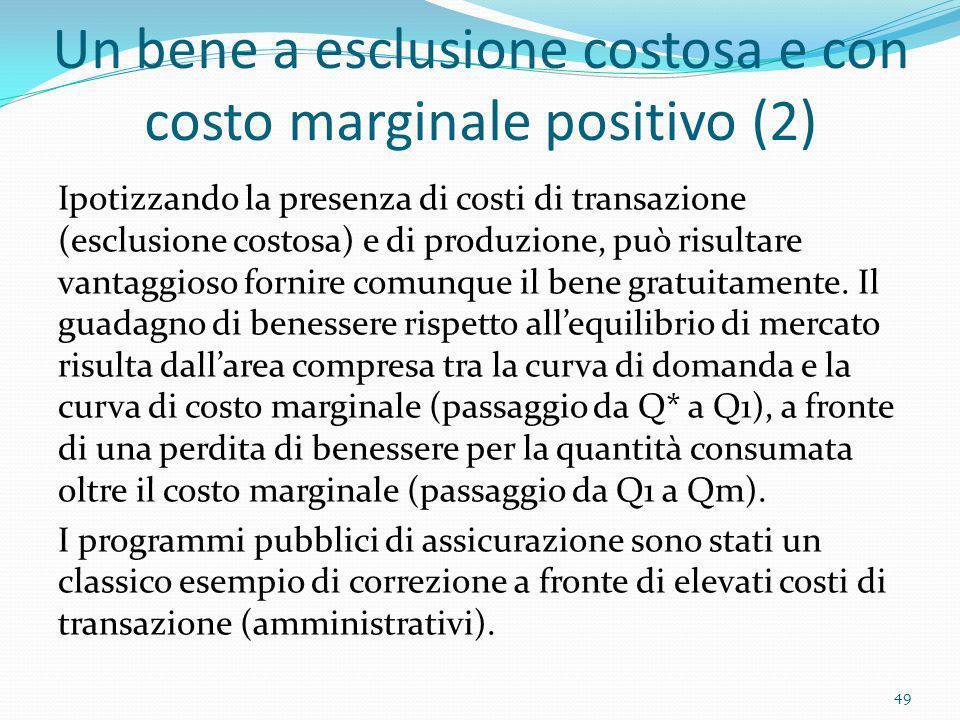 Un bene a esclusione costosa e con costo marginale positivo (2) Ipotizzando la presenza di costi di transazione (esclusione costosa) e di produzione,
