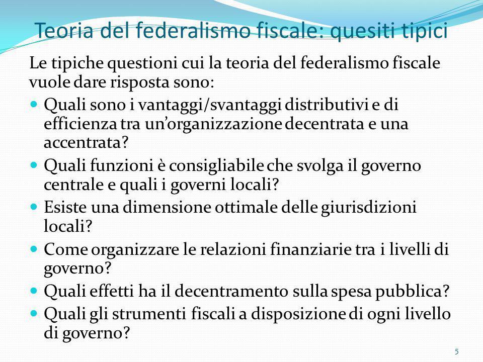 Teoria del federalismo fiscale: quesiti tipici Le tipiche questioni cui la teoria del federalismo fiscale vuole dare risposta sono: Quali sono i vanta