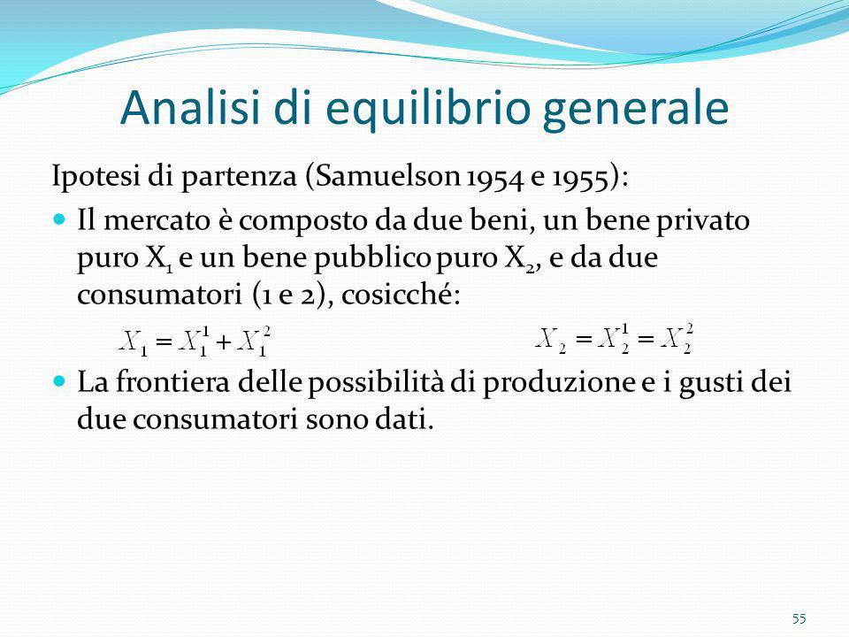 Analisi di equilibrio generale Ipotesi di partenza (Samuelson 1954 e 1955): Il mercato è composto da due beni, un bene privato puro X 1 e un bene pubb