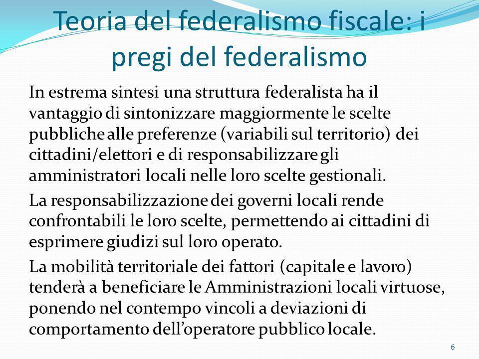 Teoria del federalismo fiscale: i pregi del federalismo In estrema sintesi una struttura federalista ha il vantaggio di sintonizzare maggiormente le s