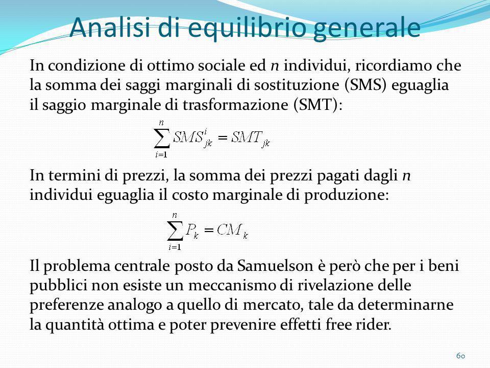 Analisi di equilibrio generale In condizione di ottimo sociale ed n individui, ricordiamo che la somma dei saggi marginali di sostituzione (SMS) eguag