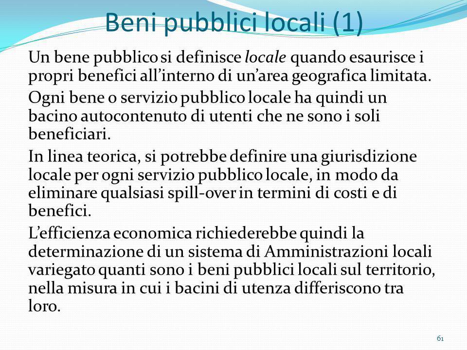 Beni pubblici locali (1) Un bene pubblico si definisce locale quando esaurisce i propri benefici allinterno di unarea geografica limitata. Ogni bene o