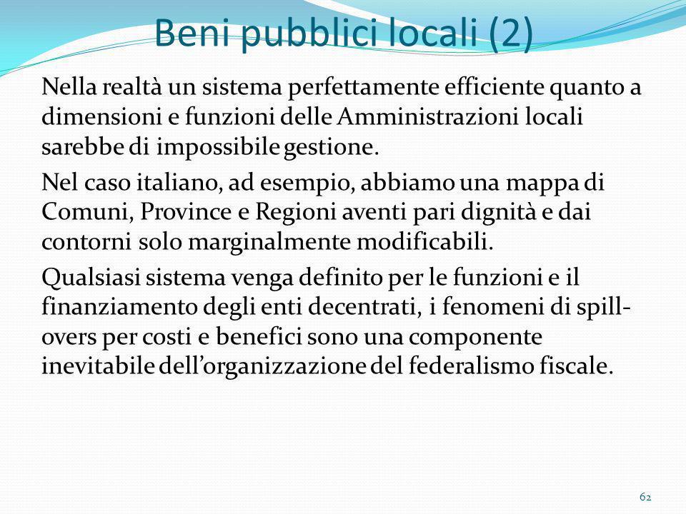 Beni pubblici locali (2) Nella realtà un sistema perfettamente efficiente quanto a dimensioni e funzioni delle Amministrazioni locali sarebbe di impos