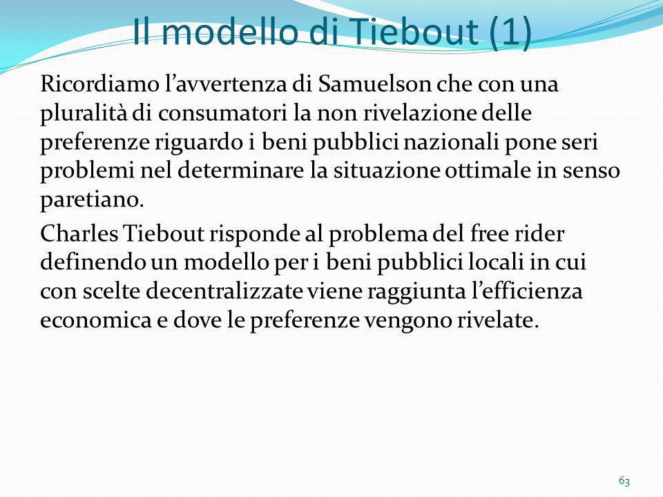 Il modello di Tiebout (1) Ricordiamo lavvertenza di Samuelson che con una pluralità di consumatori la non rivelazione delle preferenze riguardo i beni