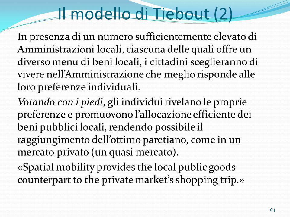 Il modello di Tiebout (2) In presenza di un numero sufficientemente elevato di Amministrazioni locali, ciascuna delle quali offre un diverso menu di b