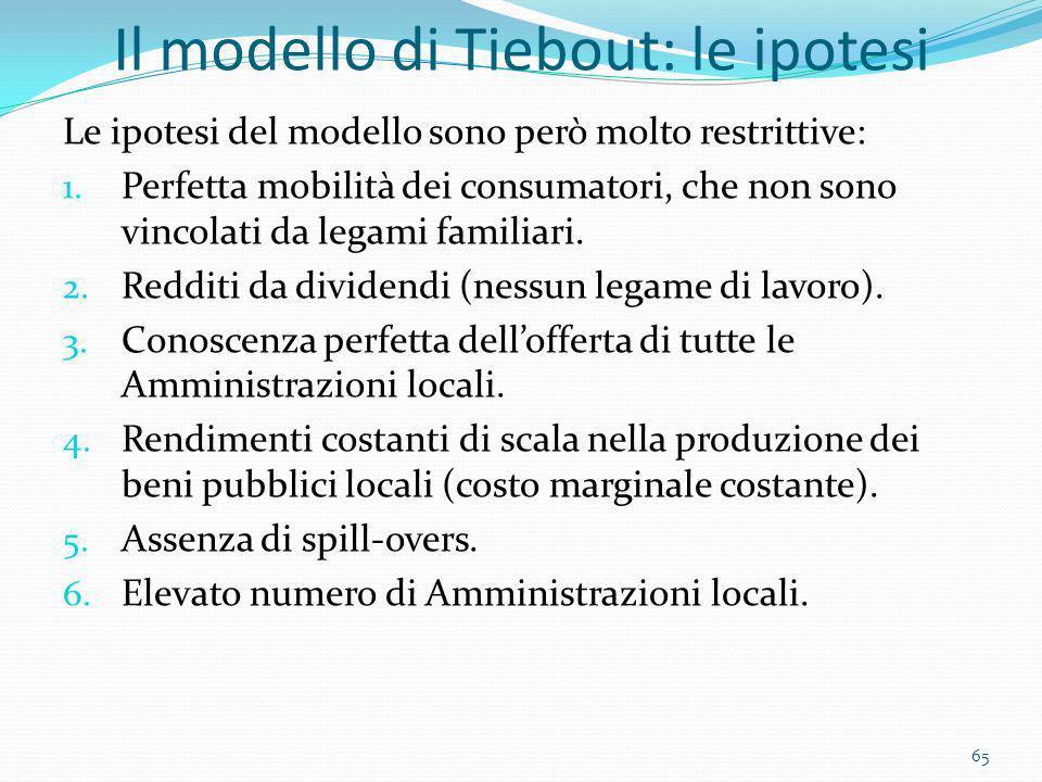 Il modello di Tiebout: le ipotesi Le ipotesi del modello sono però molto restrittive: 1. Perfetta mobilità dei consumatori, che non sono vincolati da