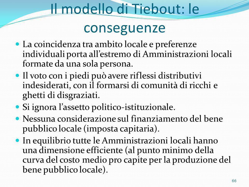 Il modello di Tiebout: le conseguenze La coincidenza tra ambito locale e preferenze individuali porta allestremo di Amministrazioni locali formate da