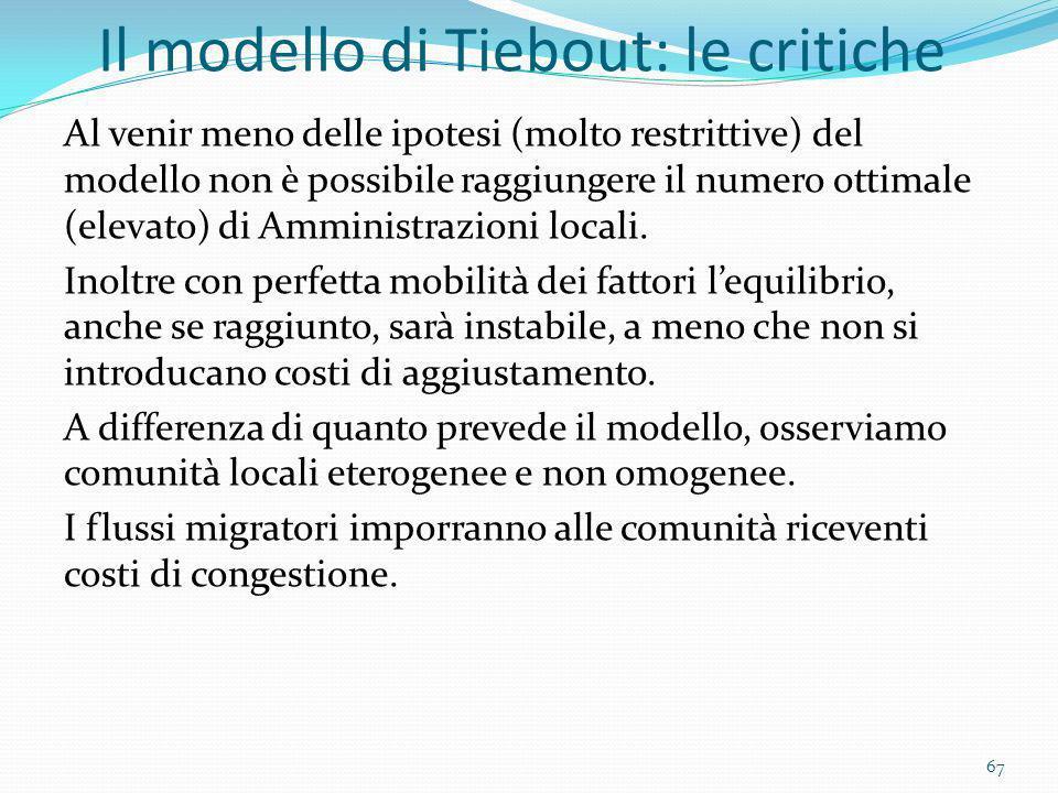 Il modello di Tiebout: le critiche Al venir meno delle ipotesi (molto restrittive) del modello non è possibile raggiungere il numero ottimale (elevato